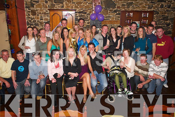 Birthday: Franky OBrien of Bishopscourt, Ballyduff, (seated 4th from left) celebrating his 30th birthday in Lowes Bar, Ballyduff, on Saturday night.along with friends and family.