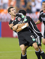 US Open Cup Quarterfinal, United .defender Joshua Gros (17) celebrates a goal with teammate Alecko Eskandarian. DC United defeated the New York Red Bulls 3-1, Wednesday, August 23, 2006 at RFK Stadium.