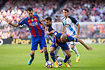 FC Barcelona's Sergio Busquets and Javier Mascherano and Deportivo de La Coruna's Bruno Gama  during the La Liga match between Futbol Club Barcelona and Deportivo de la Coruna at Camp Nou Stadium Spain. October 15, 2016. (ALTERPHOTOS/Rodrigo Jimenez)