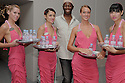 Evian models with Miss J at the NY Fashion Week at Bryant Park on Sept 05,2008.(Soul Brother For Evian)