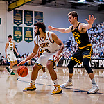 16 March 2019: University of Vermont Catamount Forward Anthony Lamb, a Junior from Toronto, Ontario, in second half action against the UMBC Retrievers during the America East Championship Game at Patrick Gymnasium in Burlington, Vermont. Lamb was named the Most Outstanding Player for the second time in his career with a game-high 28 points and nine rebounds as the Catamounts defeated the Retrievers 66-49 to avenge their loss against the same team in last years' Championship Game. Mandatory Credit: Ed Wolfstein Photo *** RAW (NEF) Image File Available ***