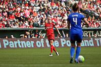 Portland, Oregon - Sunday May 29, 2016: Portland Thorns FC midfielder Dagny Brynjarsdottir (11). The Portland Thorns play the Seattle Reign during a regular season NWSL match at Providence Park.
