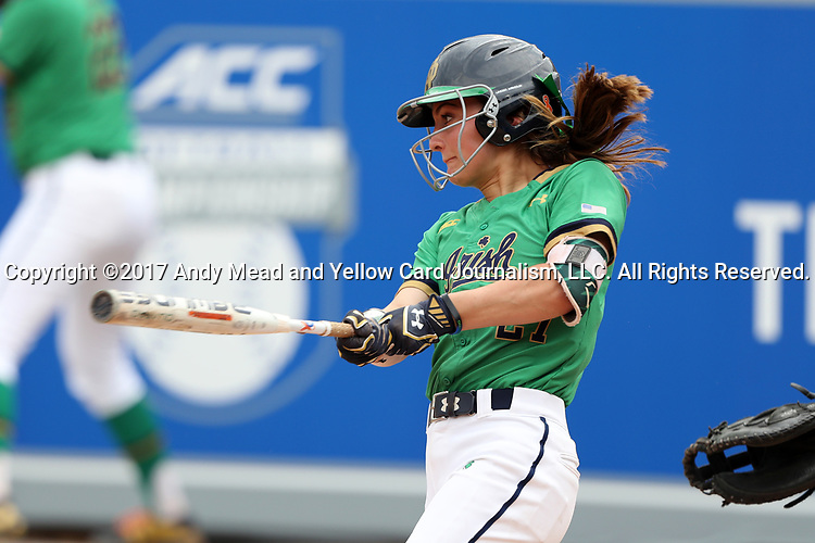 CHAPEL HILL, NC - MAY 11: Notre Dame's Katie Marino. The #4 Boston College Eagles played the #5 University of Notre Dame Fighting Irish on May 11, 2017, at Anderson Softball Stadium in Chapel Hill, NC in a 2017 Atlantic Coast Conference Tournament Quarterfinal Softball game. Notre Dame won the game 9-5 in eight innings.