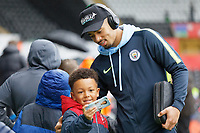 Gabriel Jesus of Manchester City greets young fans as he arrives during the English Emirates FA Cup soccer match between Swansea City and Manchester City at the Liberty Stadium, Swansea, Wales, Britain, 16 March 2019. EPA/DIMITRIS LEGAKIS <br /> EDITORIAL USE ONLY. No use with unauthorized audio, video, data, fixture lists, club/league logos or 'live' services. Online in-match use limited to 75 images, no video emulation. No use in betting, games or single club/league/player publications