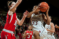 STANFORD, CA--Amber Orrange drives up the middle for two points during PAC-12 conference play against Utah  at Maples Pavilion. The Cardinal won the matchup against the Utes 69-42.