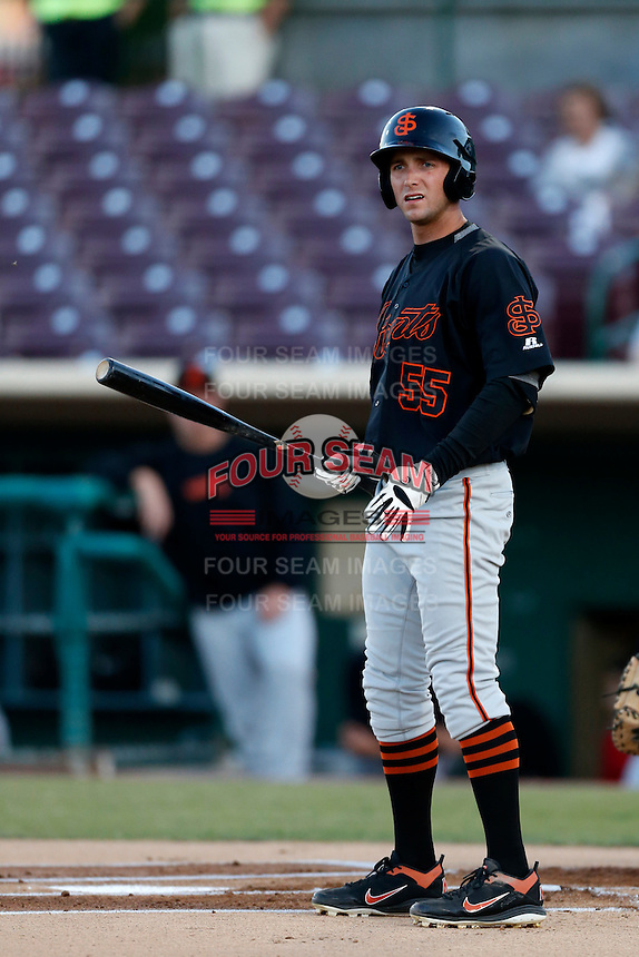 Elliott Blair #55 of the San Jose Giants bats against the Inland Empire 66'ers on April 18, 2013 at San Manuel Stadium in San Bernardino, California. (Larry Goren/Four Seam Images)