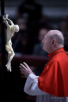 Cardinal Gianfranco Ravasi,,Pope Francis the ceremony of the Good Friday Passion of the Lord Mass in Saint Peter's Basilica at the Vatican.March 30, 2018