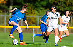 BURLINGTON ,  CT-101519JS13-  Lewis Mills' Grace Annonson (10) looks to reverse direction in front of Newington's Grace Canepari (18) during their game Tuesday at Nassahegan Field in Burlington. <br /> Jim Shannon Republican-American