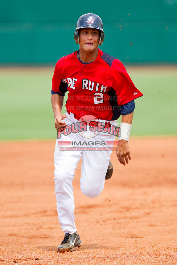 Tim Lopes #2 of Babe Ruth hustles towards third base against PONY at the 2011 Tournament of Stars at the USA Baseball National Training Center on June 25, 2011 in Cary, North Carolina.  Babe Ruth defeated PONY by the score of 10-9. (Brian Westerholt/Four Seam Images)