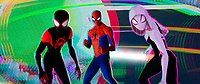 SPIDER-MAN: INTO THE SPIDER-VERSE (anim., 2018)<br /> Miles Morales (Shameik Moore), Peter Parker (Jake Johnson) and Spider-Gwen (Hailee Steinfeld)<br /> *Filmstill - Editorial Use Only*<br /> CAP/FB<br /> Image supplied by Capital Pictures