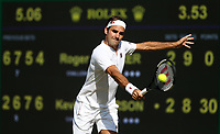 Roger Federer (SUI) during his defeat by Kevin Anderson (RSA) in their Men's Quarter Final match<br /> <br /> Photographer Rob Newell/CameraSport<br /> <br /> Wimbledon Lawn Tennis Championships - Day 9 - Wedesday 11th July 2018 -  All England Lawn Tennis and Croquet Club - Wimbledon - London - England<br /> <br /> World Copyright &not;&uml;&not;&copy; 2017 CameraSport. All rights reserved. 43 Linden Ave. Countesthorpe. Leicester. England. LE8 5PG - Tel: +44 (0) 116 277 4147 - admin@camerasport.com - www.camerasport.com