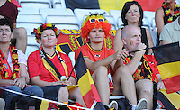 20140718 - Tonsberg , NORWAY : Belgian Fans pictured during the female soccer match between Women under 19 teams of Norway and Belgium , on the second matchday in group A of the UEFA Women Under19 European Championship at Tonsberg Stadion , Norway . Friday 18th July 2014 . PHOTO DAVID CATRY