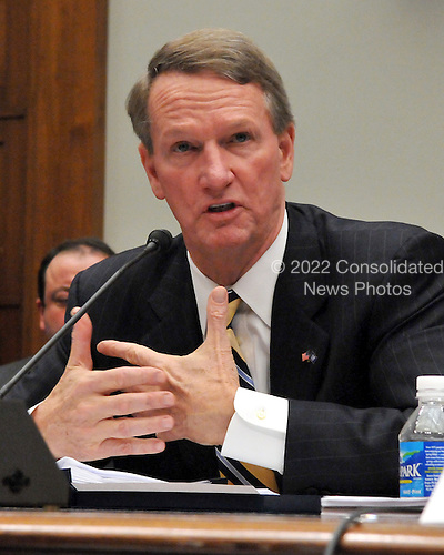 "Washington, DC - December 5, 2008 -- Richard Wagoner, Chairman and Chief Executive Officer, General Motors Corporation, testifies before the United States House Financial Services Committee hearing ""On review of industry plans to stabilize the financial condition of the American automobile industry""  in Washington, D.C. on Friday, December 5, 2008.  He was there with other automotive industry leaders to request $35 billion in loans from Congress to insure their company's survival..Credit: Ron Sachs / CNP"