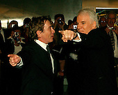 Washington, DC - October 23, 2005 -- Martin Short, left, and Steve Martin, right, seem to be giving each other directions as they arrive for the eighth annual Mark Twain Prize for American Humor, which is being awarded this year to Steve Martin at the John F. Kennedy Center for the Performing Arts in Washington on October 23, 2005.Credit: Ron Sachs / CNP