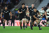 Ngani Laumape of New Zealand passes in midfield during the 125th Anniversary Match between Barbarians and New Zealand at Twickenham Stadium on Saturday 4th November 2017 (Photo by Rob Munro/Stewart Communications)