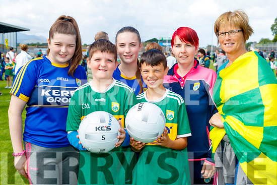 Katelyn O'Connell, Cian O'Rourke, Chantelle O'Sullivan, Liam Breen, Nora O'Sullivan and Phil Breen, all from Kilcummin, Killarney, pictured at the Kerry Team Open Day Meet and Greet, at Fitzgerald Stadium, Killarney on Saturday last.