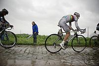 World Champion Rui Costa (POR/Lampre-Merida) conquering the infamous cobbles<br /> <br /> 2014 Tour de France<br /> stage 5: Ypres/Ieper (BEL) - Arenberg Porte du Hainaut (155km)