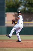 Peoria Javelinas starting pitcher Miguel Diaz (36), of the San Diego Padres organization, delivers a pitch during the Arizona Fall League Championship Game against the Salt River Rafters at Scottsdale Stadium on November 17, 2018 in Scottsdale, Arizona. Peoria defeated Salt River 3-2 in 10 innings. (Zachary Lucy/Four Seam Images)