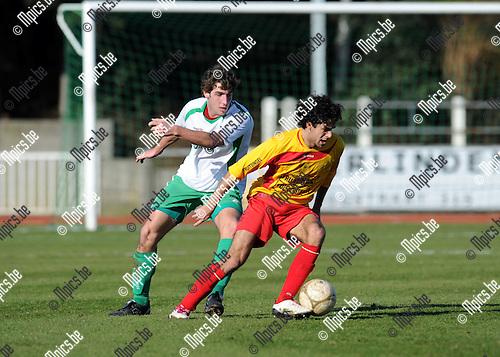 2011-03-06 / Voetbal / seizoen 20102011 / KFC Duffel - Meldert / Neal Wauters (L, Meldert) met Raphaël Galeri..Foto: Mpics