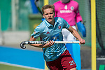 GER - Mannheim, Germany, May 05: During the men field hockey 1. Bundesliga match between Mannheimer HC (navy blue) and Uhlenhorster HC Hamburg (light blue) on May 5, 2018 at Am Neckarkanal in Mannheim, Germany. Final score 3-2. (Photo by Dirk Markgraf / www.265-images.com) *** Local caption *** Mueller, Hannes Wulf #25 of Uhlenhorster HC Hamburg
