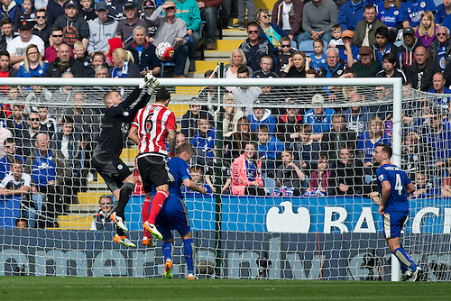 03.04.2016. King Power Stadium, Leicester, England. Barclays Premier League. Leicester versus Southampton. Leicester City goalkeeper Kasper Schmeichel gets above Southampton defender Jose Fonte to punch clear from a corner kick.