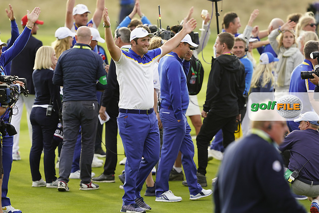 Jon Rahm (Team Europe) after the singles matches at the Ryder Cup, Le Golf National, Ile-de-France, France. 30/09/2018.<br /> Picture Fran Caffrey / Golffile.ie<br /> <br /> All photo usage must carry mandatory copyright credit (© Golffile | Fran Caffrey)