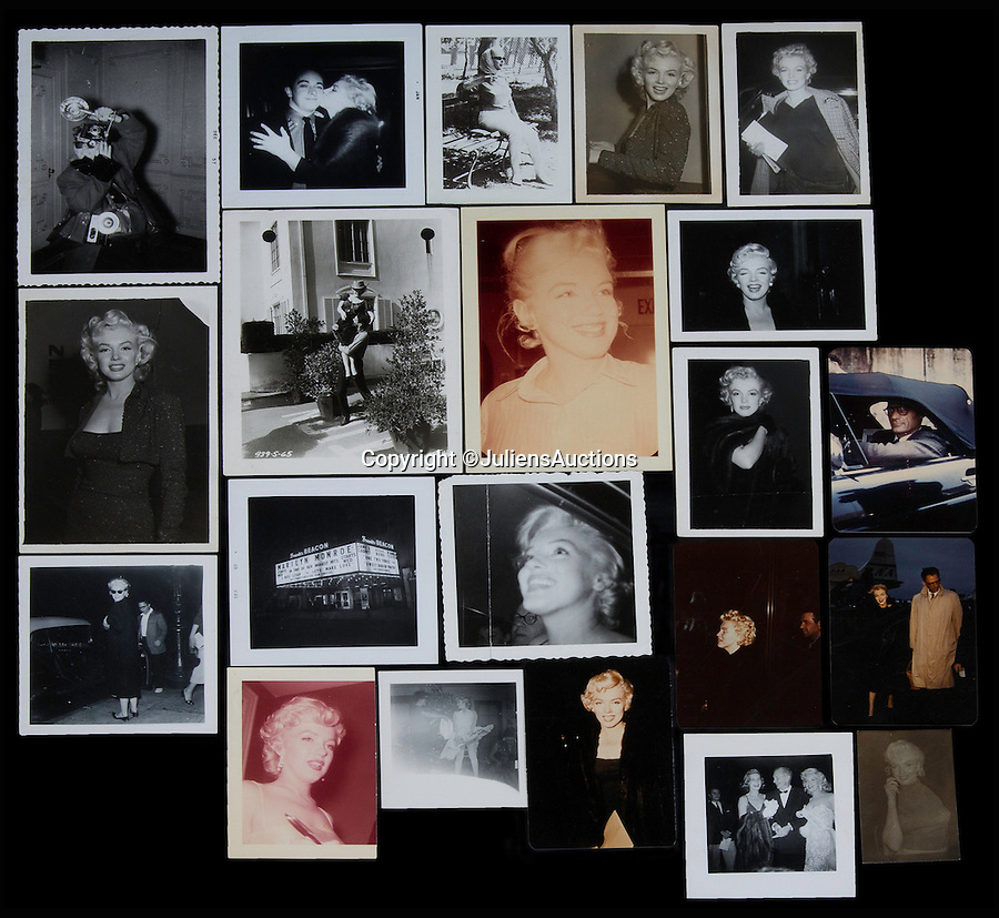 BNPS.co.uk (01202 558833)<br /> Pic: JuliensAuctions/BNPS<br /> <br /> A group of 27 original colour and black and white candid Marilyn Monroe related photographs. Monroe is shown in nearly all photograps, which were taken at various times and events throughout her career.<br /> <br /> A huge archive of candid photographs of screen siren Marilyn Monroe taken by a superfan she befriended has emerged for sale for a staggering £320,000.<br /> <br /> The collection includes more than 550 colour and black and white snaps, some of which have never been seen before, that were taken by fan-turned-friend Freda Hull.<br /> <br /> Monroe was notoriously guarded but welcomed Mrs Hull and her five friends into her inner sanctum, often giving them gifts and even once inviting them for a picnic at her home in Connecticut.<br /> <br /> The archive, which also boasts 150 colour slides, 750 stills from Monroe's films and a collection of personal home movies, is tipped to fetch £320,000 when it goes under the hammer at Julien's Auctions.