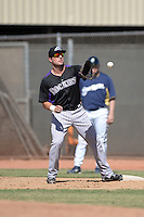 Colorado Rockies first baseman Kyle Parker (3) during an instructional league game against the Milwaukee Brewers on October 1, 2013 at Maryvale Baseball Park Training Complex in Phoenix, Arizona.  (Mike Janes/Four Seam Images)