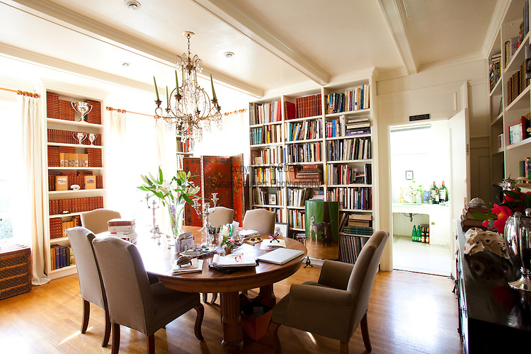 The Portland, Oregon home of Wendy Burden, author of  the memoir, Dead End Gene Pool. The Dining room where Ms. Burden works is filled with a marvelous collection of books.