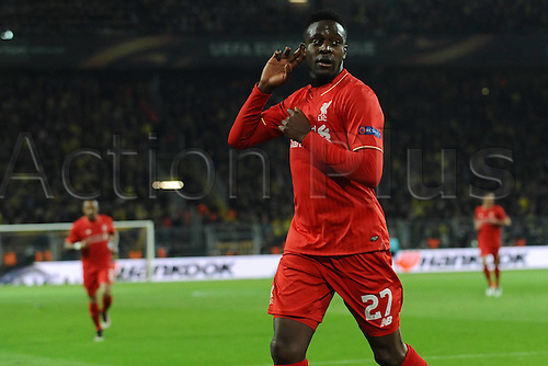 07.04.2016. Dortmund, Germany. Europa League quarterfinal. Borussia Dortmund versus Liverpool FC at the Signal Iduna Park Dortmund.  Scorer Divock Origi ( Liverpool ) celebrates his goal