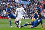 Real Madrid´s Gareth Bale (C) and Getafe´s Cala and Sarabia during La Liga match at Santiago Bernabeu stadium in Madrid, Spain. December 05, 2015. (ALTERPHOTOS/Victor Blanco)