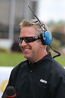 May 11, 2013; Commerce, GA, USA: ESPN television NHRA analyst Tommy Johnson Jr during the Southern Nationals at Atlanta Dragway. Mandatory Credit: Mark J. Rebilas-