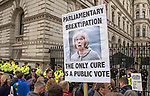 "The ""Put it to the People"" rally makes it's way past Downing Street in London today. Demonstrators from across the country gathered to call for a second referendum on Brexit and to march through the UK capital finishing with speeches in Parliament Square opposite the Houses of Parliament in Westminster."
