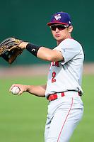 Auburn Doubledays outfielder Rhett Wiseman (2) prior to a game versus the Lowell Spinners at Lelacheur Park on July 25, 2015 in Lowell, Massachusetts. (Ken Babbitt/Four Seam Images)