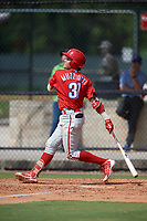 Philadelphia Phillies Simon Muzziotti (31) follows through on a swing during an Instructional League game against the Atlanta Braves on October 9, 2017 at the Carpenter Complex in Clearwater, Florida.  (Mike Janes/Four Seam Images)