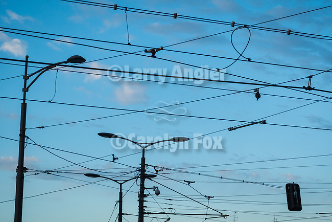 Light poles and overhead trolly power lines, Belgrade, Serbia