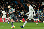 Real Madrid's Raphael Varane and Real Sociedad's Adnan Januzaj during La Liga match between Real Madrid and Real Sociedad at Santiago Bernabeu Stadium in Madrid, Spain. January 06, 2019. (ALTERPHOTOS/A. Perez Meca)<br />  (ALTERPHOTOS/A. Perez Meca)