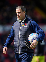 Cheltenham Town manager Michael Duff during the pre-match warm-up<br /> <br /> Photographer Chris Vaughan/CameraSport<br /> <br /> The EFL Sky Bet League Two - Lincoln City v Cheltenham Town - Saturday 13th April 2019 - Sincil Bank - Lincoln<br /> <br /> World Copyright &copy; 2019 CameraSport. All rights reserved. 43 Linden Ave. Countesthorpe. Leicester. England. LE8 5PG - Tel: +44 (0) 116 277 4147 - admin@camerasport.com - www.camerasport.com