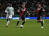 Jon Robertson coming under pressure from Victor Wanyama in the Celtic v St Mirren Clydesdale Bank Scottish Premier League match played at Celtic Park, Glasgow on 15.12.12.