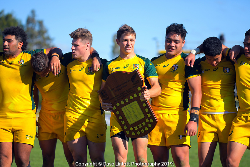 The Australia team after winning the rugby union match between New Zealand Schools and Australia Under-18s at St Paul's Collegiate in Hamilton, New Zealand on Friday, 4 October 2019. Photo: Dave Lintott / lintottphoto.co.nz