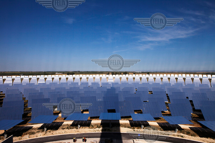 Some of the 2,650 heliostats in the solar field at the Gemasolar Thermosolar Plant that produces 19.9 megawatts of electricity.