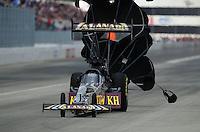 Feb. 11, 2012; Pomona, CA, USA; NHRA top fuel driver Khalid Albalooshi during qualifying for the Winternationals at Auto Club Raceway at Pomona. Mandatory Credit: Mark J. Rebilas-