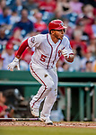 26 September 2018: Washington Nationals infielder Adrian Sanchez in action against the Miami Marlins at Nationals Park in Washington, DC. The Nationals defeated the visiting Marlins 9-3, closing out Washington's 2018 home season. Mandatory Credit: Ed Wolfstein Photo *** RAW (NEF) Image File Available ***