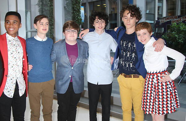 NEW YORK, NY - AUGUST 30: Chosen Jacobs, Jaeden Lieberhe, Jeremy Ray Taylor, Finn Wolfhard, Wyatt Oleff, Sophia Lillis at SiriusXM Studios promoting the new movie IT in New York City on August 3, 2017. Credit: RW/MediaPiunch