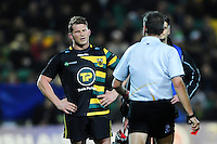 Dylan Hartley of Northampton Saints looks on as referee Jerome Garces holds a red card. European Rugby Champions Cup match, between Northampton Saints and Leinster Rugby on December 9, 2016 at Franklin's Gardens in Northampton, England. Photo by: Patrick Khachfe / JMP