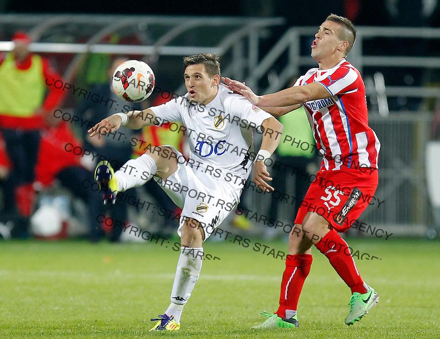 Fudbal Super liga season 2013-2014<br /> Cukaricki v Crvena Zvezda<br /> Nikola Stojiljkovic (L) and Aleksandar Kovacevic<br /> Beograd, 06.10.2013.<br /> foto: Srdjan Stevanovic/Starsportphoto &copy;