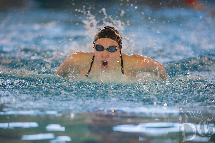 NWA Democrat-Gazette/J.T. WAMPLER Taylor Pike of Bentonville competes in the 100 yard butterfly Wednesday Feb. 15, 2017 at the 7A-West District swim meet at the Bentonville Community Center.