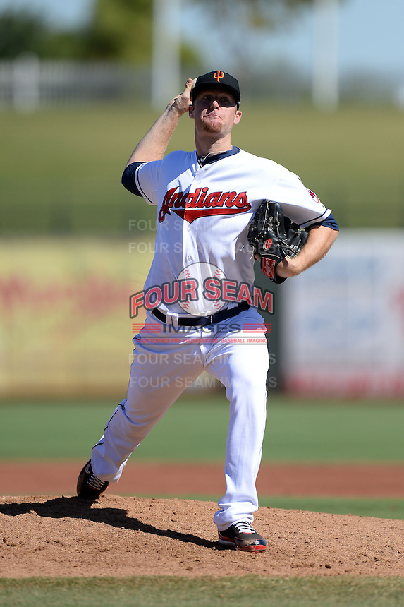 Surprise Saguaros pitcher Will Roberts (41), of the Cleveland Indians organization, during an Arizona Fall League game against the Scottsdale Scorpions on October 17, 2013 at Surprise Stadium in Surprise, Arizona.  Surprise defeated Scottsdale 10-5.  (Mike Janes/Four Seam Images)