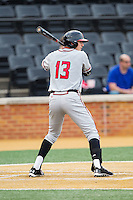Anthony Papio (13) of the Maryland Terrapins at bat against the Wake Forest Demon Deacons at Wake Forest Baseball Park on April 4, 2014 in Winston-Salem, North Carolina.  The Demon Deacons defeated the Terrapins 6-4.  (Brian Westerholt/Four Seam Images)