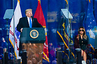President Donald Trump attends the Veterans Day parade in New York